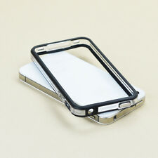 APPLE iPHONE 4 4S TPU BUMPER W/ METAL BUTTONS CLEAR/BLACK