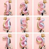 32'' Balloon Crown Number Foil Balloons Wedding Event Party Decor Rainbow Color
