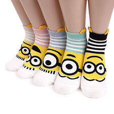 STRIPED MINIONS CHARACTER SOCKS 5 pairs=1 pack women girl cute SHIP FROM USA