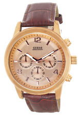 GUESS Mens Rose Gold Tone Dial Maroon Genuine Leather Strap Watch U16003G1 43mm