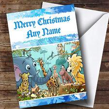 Animaux JUNGLE Personnalisé Noël Carte de vœux