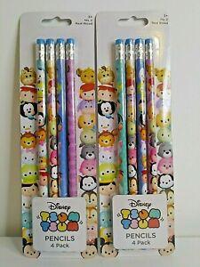 Disney Pixar Tsum Tsum 4 Pack Real Wood Pencils Brand New