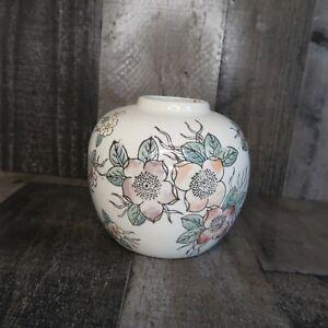 Cloisonne Enamel Urn Floral Pale Pink White Ginger Jar