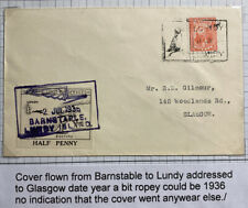 1936 Lundy Channel Island England Airmail Cover To Glasgow Scotland Atlantic Ser