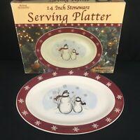"VTG Oval Serving Platter 14"" by Royal Seasons Stoneware Snowmen RN1 Christmas"