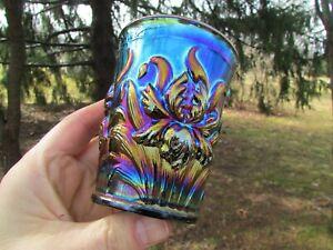 Dugan HEAVY IRIS ANTIQUE CARNIVAL ART GLASS TUMBLER~ELECTRIC PURPLE~SUPER HOT!