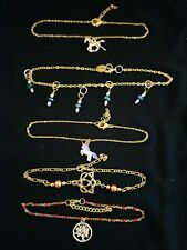 5 Gold Tone anklets Horse, Unicorn, Celtic Tree of Life Triquetra Heart