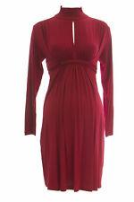 OLIAN Maternity Women's Red Keyhole Mock Neck Long Sleeve Dress S $155 NEW