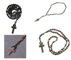 Rosary Necklace Beads Wooden Cross Jesus Saint Crucifix Brown Black Women Men