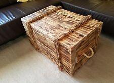 XL Holzkiste mit Seilgriffen rustikal geflammt Couchtisch Holztruhe Frachtkiste