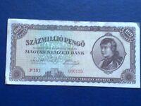 HUNGARY 100 MILLION PENGO 1946 - VERY FINE(3)