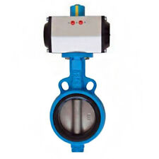 """DN100 4"""" Double Acting Pneumatic Butterfly Valve Wafer Type EPDM Sealing"""