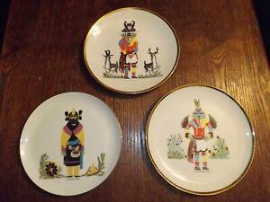 Hummingbird, Antelope & Maiden Kachina Fine China Decorative Plates (3) 1970s AZ