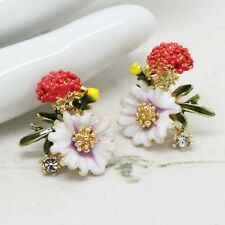 Beautiful French Vintage Style ENAMEL and CRYSTAL Rhinestone Flower EARRINGS