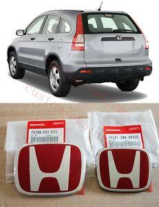 2002 - 2011 Honda CR-V JDM RED H Type R - Front Rear Emblem 2PCS Set EX SI