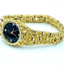 Working Ladies ELGIN Diamond Chunky Gold Quartz Watch Bracelet Band New Battery