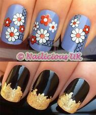 NAIL ART SET #206 CRISS CROSS DAISY WATER TRANSFERS/DECAL/STICKERS & GOLD LEAF