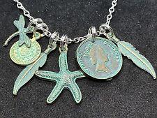 "Beach Starfish Treasure Patina Coins Charm Tibetan Silver 18"" Necklace D568"