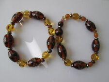 "Color Glass/Brass Bead-About 7.5"" Set/2 Handmade Women's Stretch Bracelets-Amber"