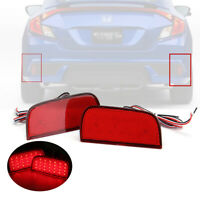 2x LED Side Rear Bumper Brake Reflector Light Lamp For Honda Civic 10