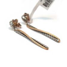 Novo David Yurman 2T Crossover Brincos Pendurados de Gota Em Prata E Ouro 18K