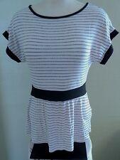Charlotte Russe Womens Top Medium Black & White Striped Knit Short Sleeve