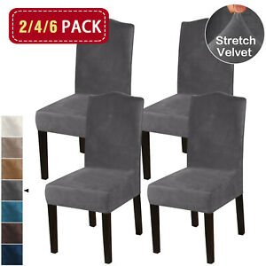 Thick Velvet Dining Chair Covers Slip Covers Dining Room Chairs Cover 2/4/6 Pack