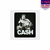 Johnny Cash 4 Stickers 4X4 Inch Sticker Decal