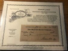 Rare Simon Lake - Check Signed 02/25/1931 Submarine Inventor With Coa