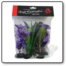 5 Pack AQUARIUM SILK PLANTS Artificial Fish DECOR Soft Plastic Decoration PURPLE