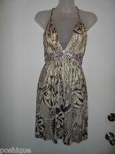 Sky Clothing Brand S Dress Rhinestone Crystal Gold Metallic Floral Spring Club