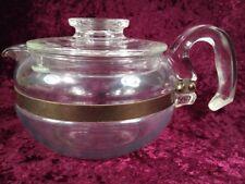 Vintage PYREX 4-6 Cup FLAMEWARE  Blue Tint Coffee Tea Pot Kettle 8446