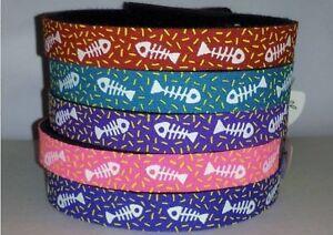 Beastie Band Cat Collars - =^..^= Purrfectly Comfy - U-Pick Color FISH BONES