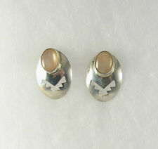 Pink Mother of Pearl Post Earrings .925 Sterling Silver USA Made Southwest Style
