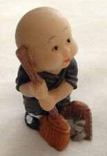 "Oriental Asian Janitor 2"" Man Figurine With Broom & Dust Pan"