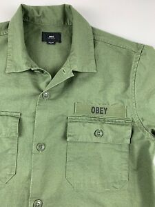 OBEY PROPAGANDA Military Army Green Short Sleeve Button Front Shirt Men S $80