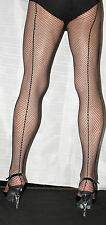Black Seamed Fishnet To The Waist High Quality Tights ONE SIZE
