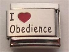 I LOVE OBEDIENCE TRAINING DOG LASER ITALIAN CHARM PUPPY PET 9MM CLASSIC BRACELET