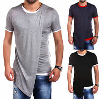Men Crew Neck Irregular Hemd Short Sleeve T-shirt Longline Tops Casual Basic Tee