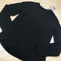 R-54- MICHAEL BASTIAN Mens Henley Sweater Black Long Sleeve Button S