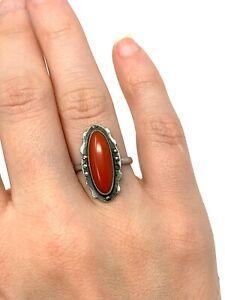 Superb Antique Art Deco Sterling Silver 925 Coral Marcasite Ring Size L #1548
