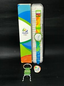 SWATCH OLYMPIC SPECIAL RIO 2016 VOLUNTEER GZ705 IN BOX + 1 PIN + 1 KEYCHAIN