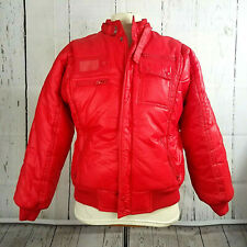 Vintage 80s Arctic Circle Mens S M 38 40 Puffer Ski Snow Coat Candy Apple Red