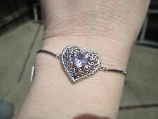Rose De France Amethyst Platinum Bond Brass Adjust. Heart Bracelet TGW 1.60 cts.