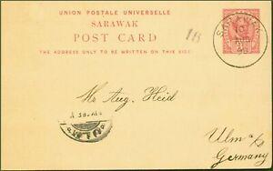 Sarawak 1898 3c Pre-Paid Postcard to Germany Fine & Attractive