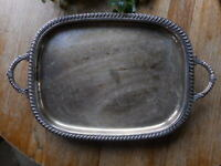 Large Baroque Style Rectangle Footed Ornate Victorian Serving Tray Silverplate