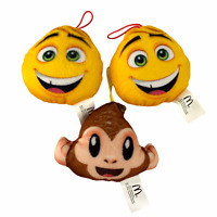 "Lot of 3 McDonalds Emoji Plush Stuffed 2017 Key Chain Happy Meal Kids Toys 4"""