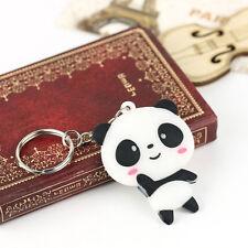 Rubber Cartoon Panda Keychain Keyring Bag Kawaii Silicone Pendant Key Ring Chain