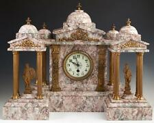 Stunning Three Piece Gilt Spelter and Violette Marble Clock Set, 19th C., 1800s!