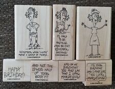 Stampin' Up WORDS BY WANDA Set of 7 Wood Mounted Rubber Stamps Lot Birthday